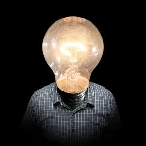 Person with a lightbulb for a head