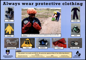 Poster of protective clothing for pesticide use