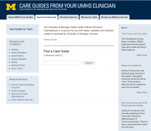 Screenshot of the Care Guides homepage website