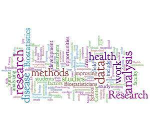 word cloud of words related to research. the largest words are research, data, disease, biostatistics, health, and work