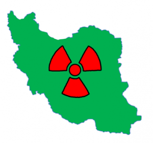 Green outline of Iran with red nuclear symbol superimposed