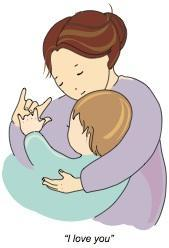 "Cartoon image of mother and baby signing ""I love you"""