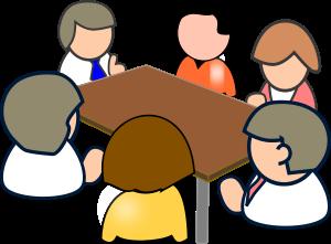 Cartoon image of people having a meeting