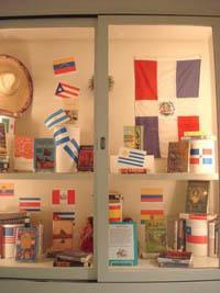 Display of books written by Hispanic authors
