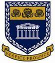 "UWC shield logo with 3 flowers, a building with columns, and a banner that says ""respice prospice"""